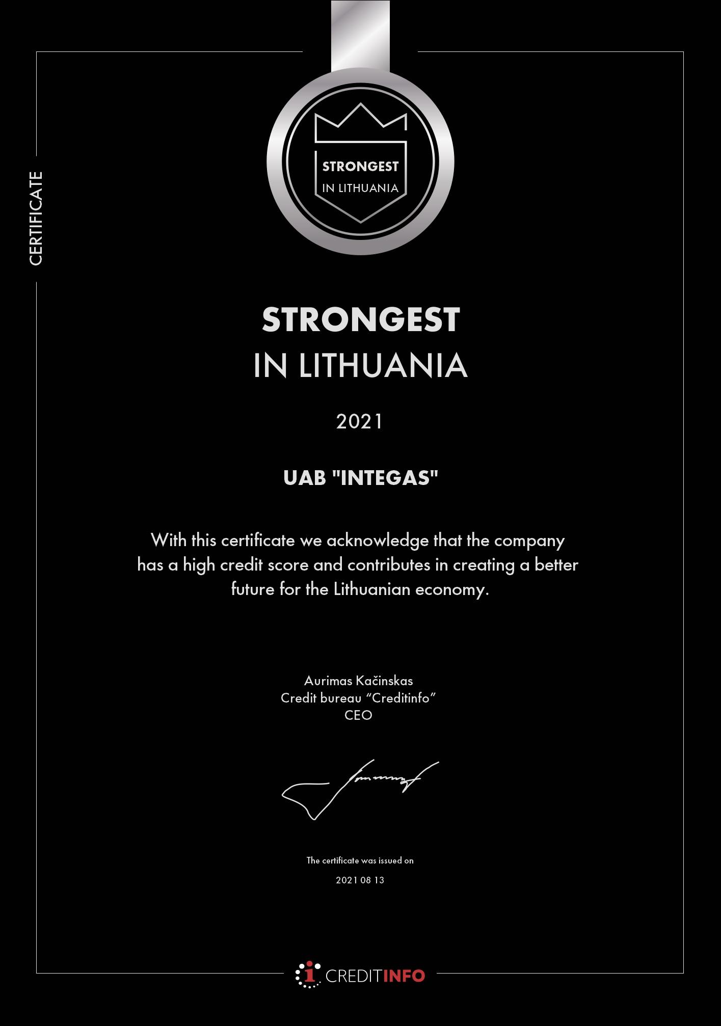 Esame stipriausi Lietuvoje 2021